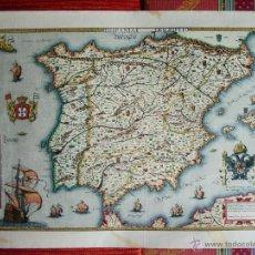 Arte: 1560-MAPA ESPAÑA.HISPANIA.DOMENICUS ZENOI.OBRA ORIGINAL DE DANIEL DERVEAUX EN 1960. Lote 43098629