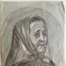 Arte: INTERESANTE RETRATO DE UNA ANCIANA, FIRMADO R. B. 47 X 32 CENTÍMETROS. Lote 43266928