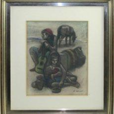 Arte: A2-049 - ALFREDO OPISSO CARDONA (1907-1980) - ZÍNGAROS - PASTEL. Lote 43470347