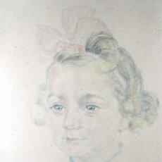 Arte: 1944 - BELLO DIBUJO COLOREADO - RETRATO DE NIÑA - FIRMADO Y DATADO. Lote 43577834