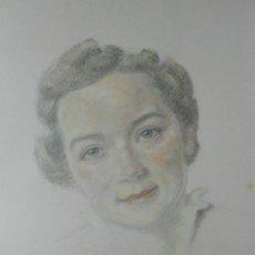 Arte: 1938 - BELLO DIBUJO COLOREADO - RETRATO DE SEÑORA - FIRMADO Y DATADO. Lote 43577945