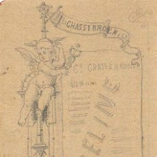 Arte: MADRID.DIBUJO ORIGINAL PARA TARJETON PUBLICITARIO PARA 'VASELINE. RECOLETOS 10'. CA.1870. 15X9 CM.. Lote 43615541