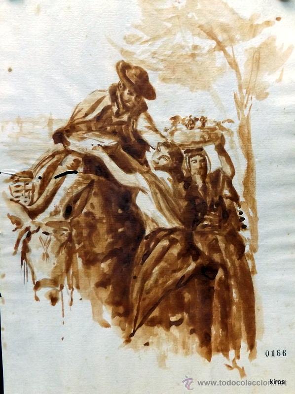 ESCENA COSTUMBRISTA ANDALUZA (Arte - Dibujos - Modernos siglo XIX)