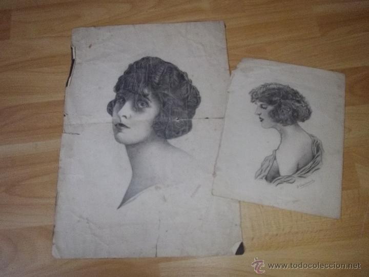 BONITO LOTE DIBUJO LÁPIZ ORIGINAL ART DECÓ AÑOS 20 RETRATO WOODWARD (Arte - Dibujos - Contemporáneos siglo XX)