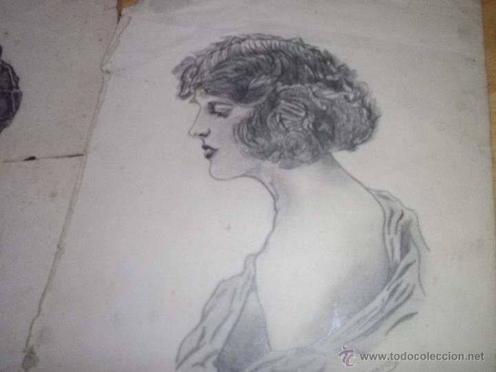 Arte: BONITO LOTE DIBUJO LÁPIZ ORIGINAL ART DECÓ AÑOS 20 RETRATO WOODWARD - Foto 3 - 43923616