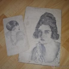 Arte: BONITO LOTE DIBUJO LÁPIZ ORIGINAL ART DECÓ AÑO 1910-1920 RETRATO WOODWARD. Lote 43923696