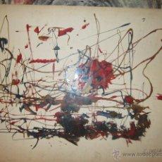 Arte: DIBUJO ABSTRACTO ACRILICO SOBRE CARTULINA - FIRMADO POR E. DELGADO. MEDIDA: 74 X 53 CMS.. Lote 44016834