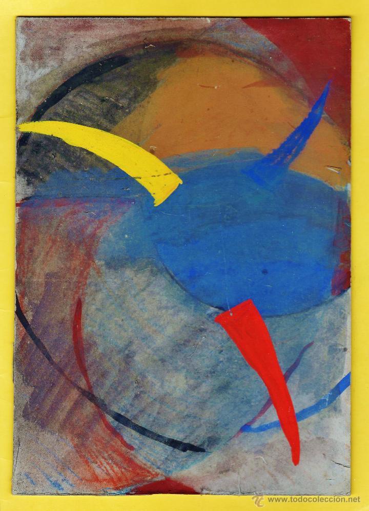 PINTURA / DIBUJO ORIGINAL - ABSTRACTO - SIN FIRMA AUTOR (?) - CARTON RIGIDO - 18 X 25'5 - AÑOS (?) (Arte - Dibujos - Contemporáneos siglo XX)