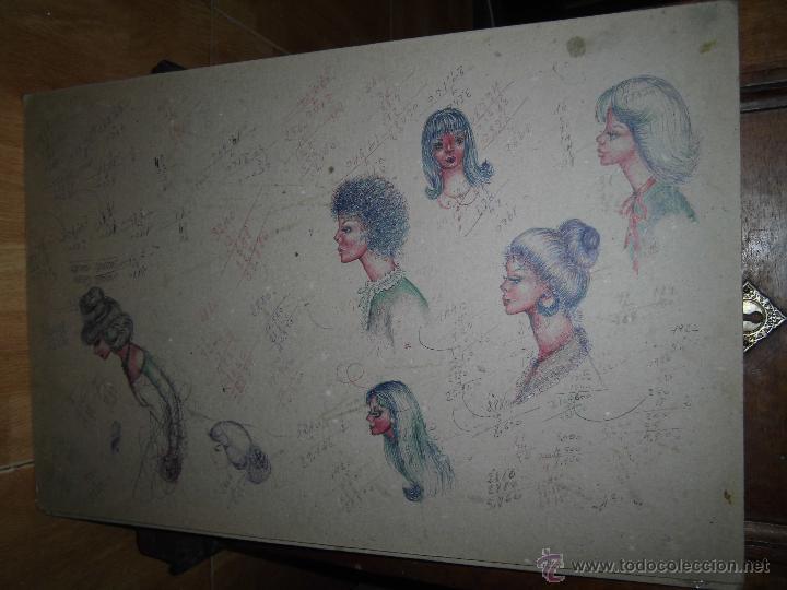 Arte: DIBUJOS ANTIGUOS DISEÑOS DE MODA DE PEINADOS CON APUNTES EN FRANCES Y CASTELLANO MEDIADOS DE SIGLO - Foto 2 - 44142209