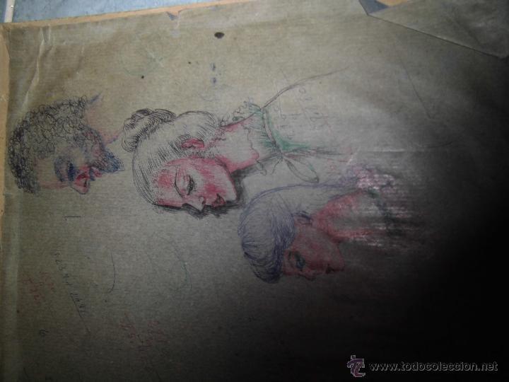 Arte: INTERESANTES DIBUJOS ANTIGUOS CARTON CABEZAS O RETRATOS CON APUNTES MANUSCRITOS FRANCIA ? - Foto 3 - 44142818