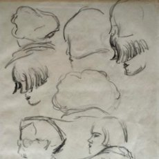 Arte: RTRATO DE UNA JOVEN, BOCETOS ORIGINALES A LAPIZ, ART DECO, FIRMADO Y FECHADO. Lote 44183934