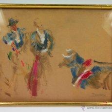 Arte: JOAQUIM TERRUELLA, ESCENA DE TOROS, DIBUJO SOBRE PAPEL, MARCO: 25X31 CM.. Lote 44187111