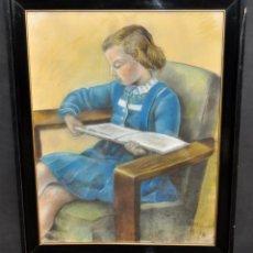 Arte: ANA MARIA MASSOT. DIBUJO A PASTEL DEL AÑO 1940. RETRATO DE UNA NIÑA. Lote 44201109