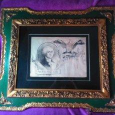 Arte: DIBUJO ORIGINAL DE APELES MESTRES DE GEORGES WASINGTON CON EL AGUILA AMERICANA 1895. Lote 44401420