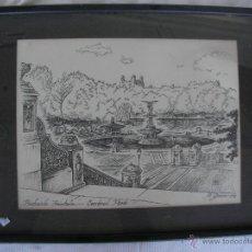 Arte: ANTIGUO CUADRO A PLUMILLA - BETHESDA FOUNTAIN - CENTRAL PARK - GENOVA - DESCONOZCO SI ES ORIGINAL. Lote 44675859