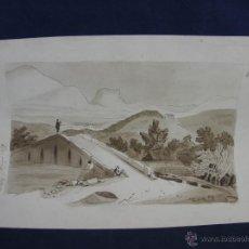 Arte: DIBUJO AGUATINTA PAISAJE CON RÍO Y PUENTE FRANCIA 1857 FIRMADO ECOLE POLYTECHNIQUE 48 X 30 CM. Lote 44678804