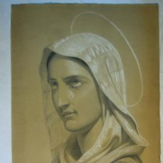 Arte: VIRGEN DOLOROSA. DIBUJO DE A. LACAMBRA DE 1878. Lote 44726831