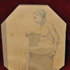 Arte: FIRMADO V. FIERRO (1928). DIBUJO A LAPIZ SOBRE PAPEL. REPRESENTANDO UN DESNUDO MASCULINO. Lote 44879339