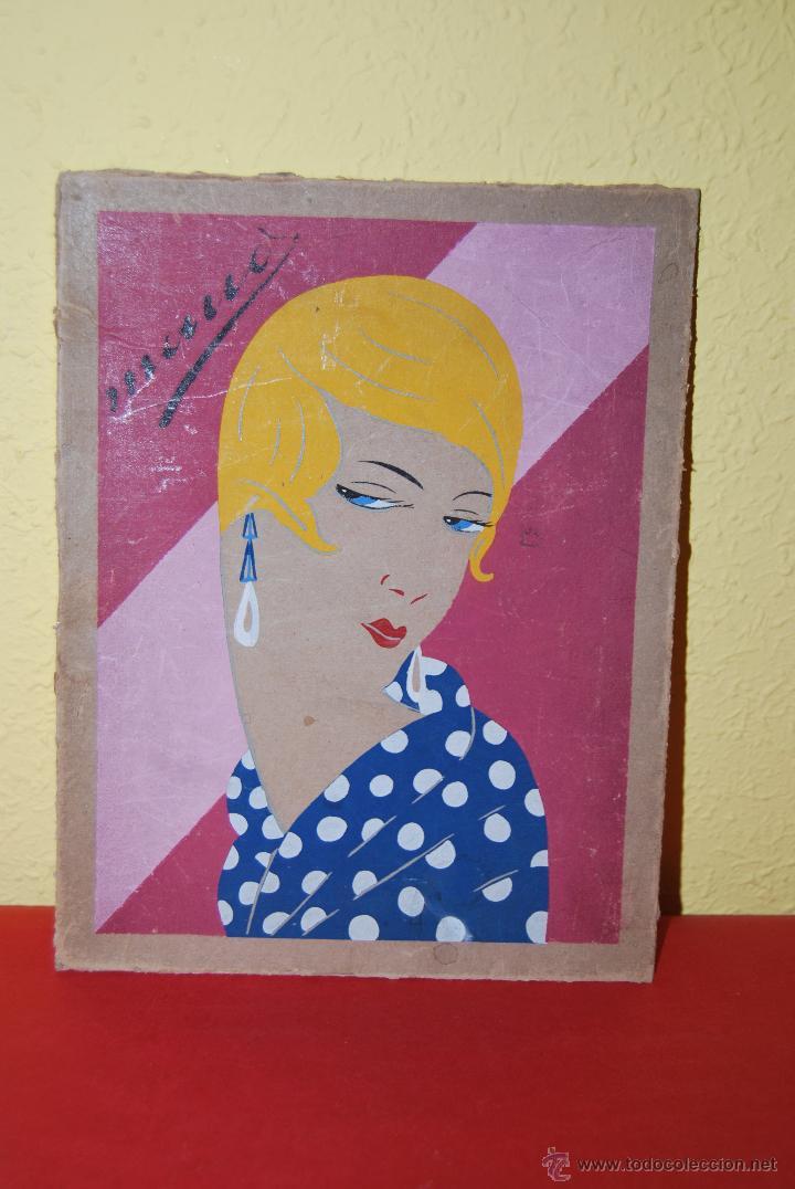 DIBUJO ORIGINAL SOBRE CARTÓN - RETRATO DE MUJER - ROSTRO FEMENINO - AÑOS 20-30 - ART DÉCO (Arte - Dibujos - Contemporáneos siglo XX)