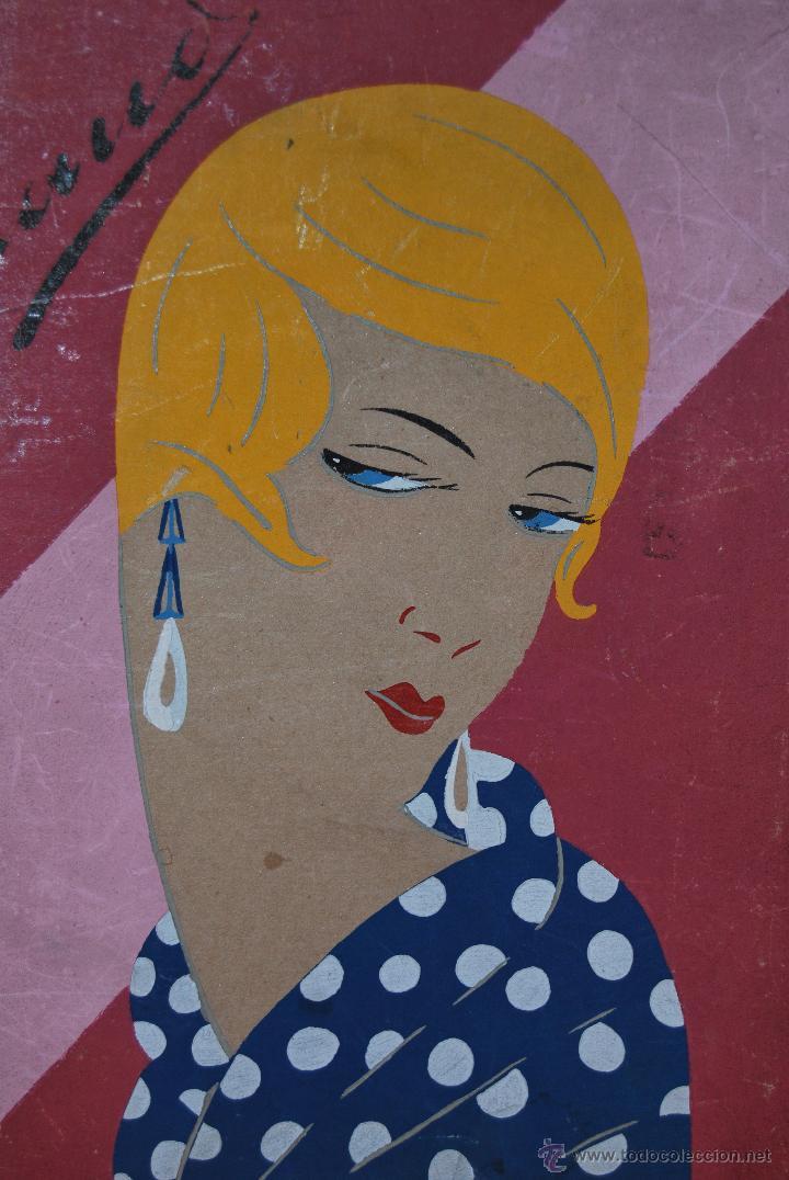 Arte: DIBUJO ORIGINAL SOBRE CARTÓN - RETRATO DE MUJER - ROSTRO FEMENINO - AÑOS 20-30 - ART DÉCO - Foto 2 - 45041858