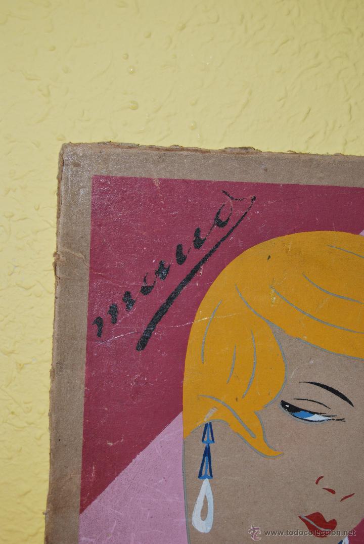 Arte: DIBUJO ORIGINAL SOBRE CARTÓN - RETRATO DE MUJER - ROSTRO FEMENINO - AÑOS 20-30 - ART DÉCO - Foto 3 - 45041858