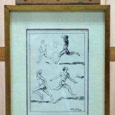 Arte: DIBUJO TINTA PAPEL ATLETISMO ANTONIO CASERO SANZ (19 NOV 1897 - 30 MAYO 1973). Lote 45066448