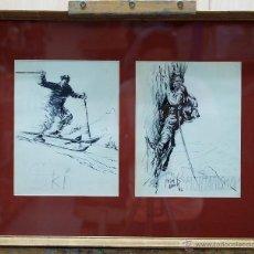 Arte: DIBUJO TINTA SOBRE PAPEL SKI MONTAÑISMO JOSÉ LUIS MAZUELO HACIA 1950. Lote 45067749