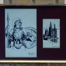 Arte - 2 Dibujo tinta sobre papel Caballero armadura y catedral Burgos Dedicado JM Cuadrado 1944 - 45067885