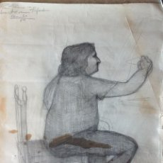 Arte: RAFAEL ALVARADO . MÁLAGA. RETRATO AL CARBONCILLO DEL MAESTRO FRANCISCO HERNÁNDEZ .. Lote 45116592