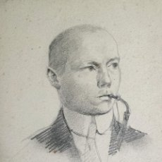 Arte: RETRATO ORIGINAL DE UN HOMBRE DE LA NOBLEZA, REALIZADO A LAPIZ, FIRMADO Y FECHADO 1914, . Lote 45196094