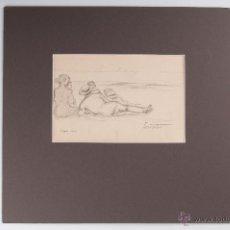 Arte: DIBUJO A LAPIZ FIRMADO FERRATER SITGES 1920. Lote 45214484
