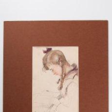 Arte: DIBUJO A DOS CARAS UNO ACUARELADO Y OTRO A LAPIZ FIRMADO A. BOUQUET AÑO 1918. Lote 45214534