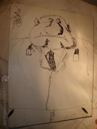 CUADRO DIBUJO TIPO COMIC, AUTOR MANUEL BARCELONA. (Arte - Dibujos - Contemporáneos siglo XX)