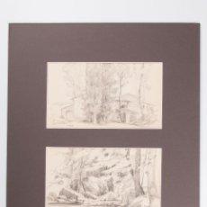 Arte: DOBLE DIBUJO A LAPIZ EN PASPARTU FIRMADO FERRATER 1932. Lote 45242007