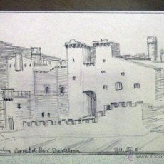 Arte: DIBUJO ORIGINAL, BOCETO, LAPIZ , CASTILLO DE SANTA FLORETINA, CANET DE MAR, BARCELONA. Lote 45260731