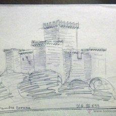 Arte: DIBUJO ORIGINAL, BOCETO, LAPIZ , CASTILLO DE PAMBRE, LUGO. Lote 45260769