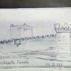 Arte: DIBUJO ORIGINAL, BOCETO, LAPIZ , CASTILLO DE MARCHENILLA, SEVILLA. Lote 45260787