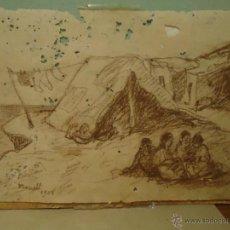 Arte: DIBUJO ANTIGUO FIRMADO NONELL 1908 CAMPAMENTO GITANO SOMORROSTRO. Lote 45263099