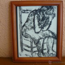 Arte: DIBUJO CARBONCILLO - ANÓNIMO - MUJER PENSATIVA. Lote 45398895