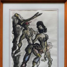 Arte: FIRMADO: LLANOS. ACUARELA 1954, 51X36 CM. MARCO: 63X48 CM.. Lote 45402942