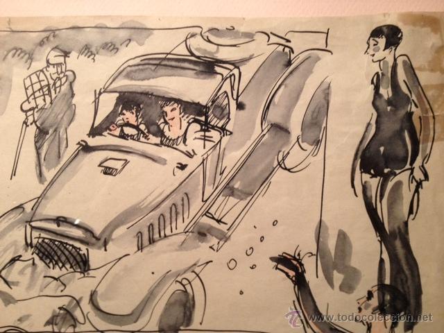 INTERESANTE DIBUJO TINTA Y ACUARELA, BOCETO MODELOS, AÑOS 30, ENMARCADO, FIRMADO (Arte - Dibujos - Contemporáneos siglo XX)