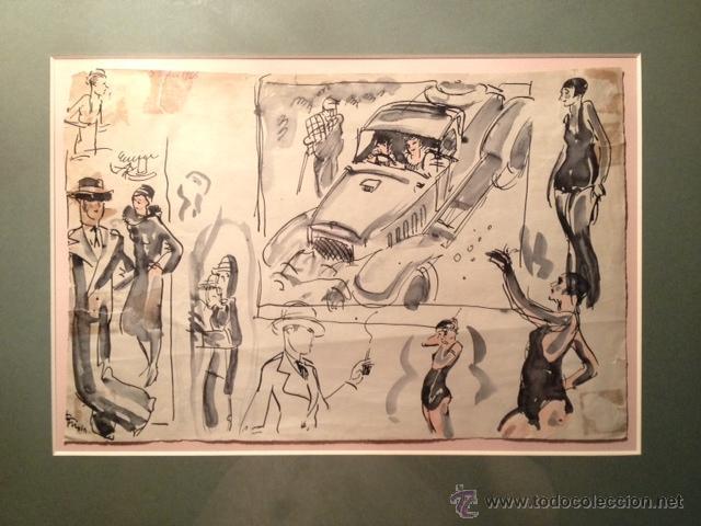 Arte: INTERESANTE DIBUJO TINTA Y ACUARELA, BOCETO MODELOS, AÑOS 30, ENMARCADO, FIRMADO - Foto 2 - 45548689
