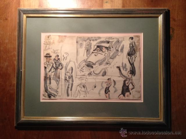 Arte: INTERESANTE DIBUJO TINTA Y ACUARELA, BOCETO MODELOS, AÑOS 30, ENMARCADO, FIRMADO - Foto 3 - 45548689