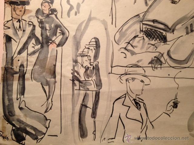 Arte: INTERESANTE DIBUJO TINTA Y ACUARELA, BOCETO MODELOS, AÑOS 30, ENMARCADO, FIRMADO - Foto 5 - 45548689