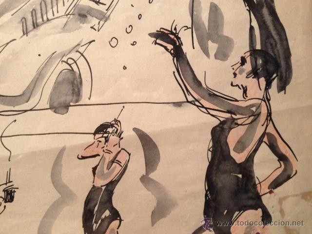 Arte: INTERESANTE DIBUJO TINTA Y ACUARELA, BOCETO MODELOS, AÑOS 30, ENMARCADO, FIRMADO - Foto 6 - 45548689
