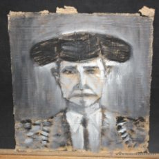 Arte: JOSEP ALCALÁ VARGAS (BARCELONA, 1923) TECNICA MIXTA SOBRE CARTON. RETRATO DE UN TORERO. Lote 45566193
