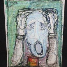 Arte: JOAN CARBONA. DIBUJO A CERAS SOBRE PAPEL. PERSONAJE. Lote 45568726