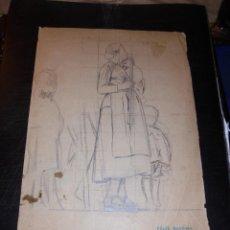Arte: CALDES DE MONTBUI - FELIX MESTRES I BORRELL 1872-1933 DIBUJO PREPARATORIO PINTURA MURAL ERMITA DEL R. Lote 45726834