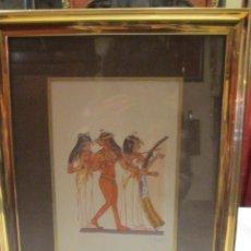 Arte: DIBUJO SOBRE PAPEL ENMARCADO - FIGURAS EJIPCIAS - FIRMADO POR J. CARBALLO.. Lote 45760211