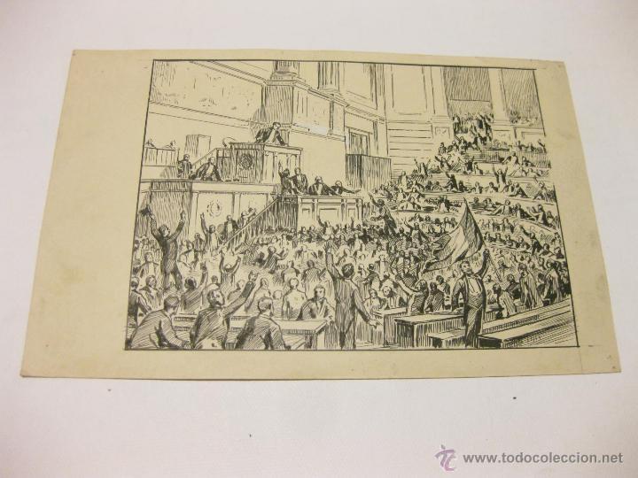 DIBUJO EN TINTA CHINA DE LAS CORTES CON LOS DIPUTADOS DE PRINCIPIOS DEL S XX (Arte - Dibujos - Modernos siglo XIX)